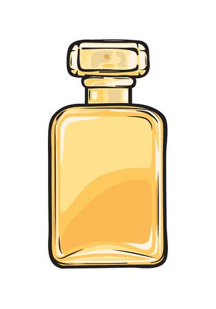 ガラス黄色フラスコ クローズ アップでファッショナブルな香水  イラスト・ベクター素材