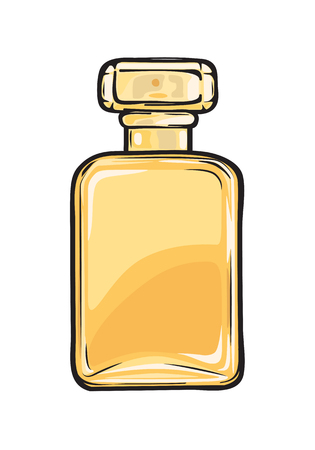 Fashionable Perfume in Glass Yellow Flask Close-up