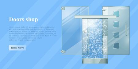 Glass Doors Conceptual Flat Vector Web Banner Illustration