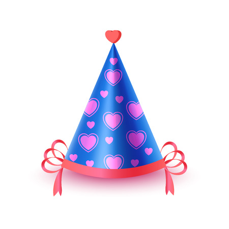 dressing up party: Festive Cap With Hearts Isolated Illustration