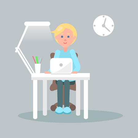 Character Sits at Table with Laptop Illustration
