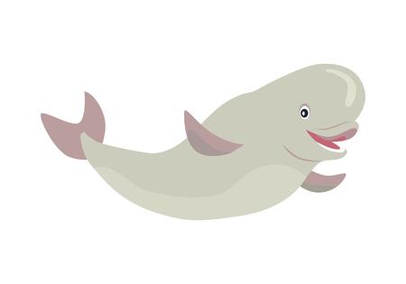 ベルーガ鯨漫画フラット ベクトル図