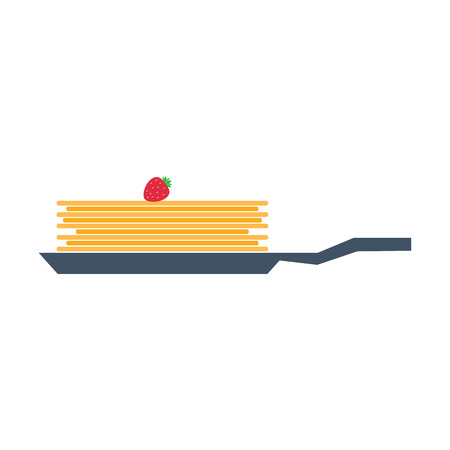 Pancakes on Frying Pan with Strawberry Vector Ilustrace