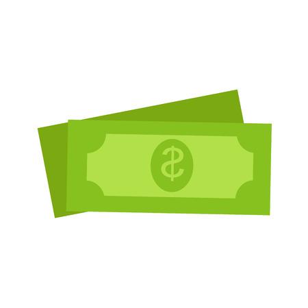 두 개의 녹색 달러 미국 돈 아이콘 세트 일러스트