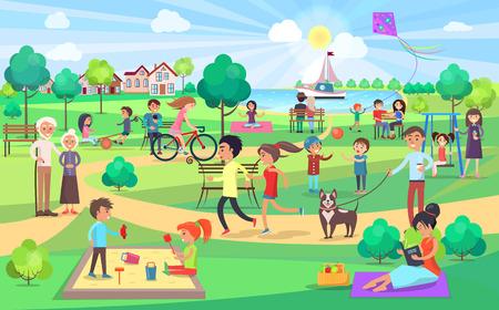 Big Green Park met mensen van alle leeftijden op mooie dag