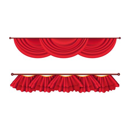 Korte plafond rode gordijnen Set. Theaterdecoratie