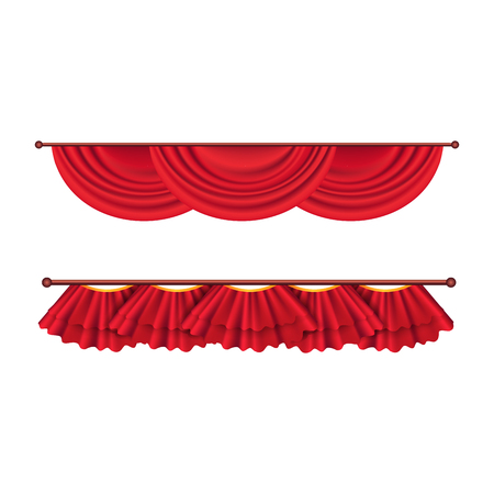 Short Ceiling Red Curtains Set. Theatre Decoration