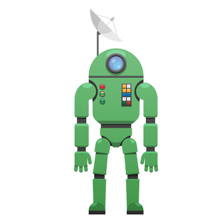Modern Space Suit with Receiver on Head Isolated Illustration