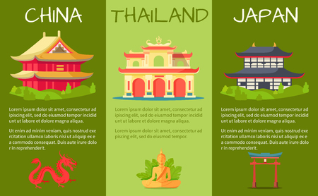 Asian Countries Touristic Vector Banners Set Stock Vector - 85386687