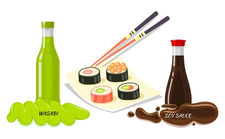Salse per il concetto di stile flat stile Sushi Archivio Fotografico - 85386638