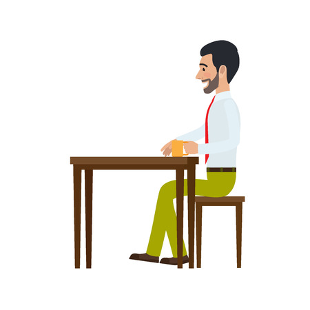 Man Sitting at Chair and Drinking Tea Side View