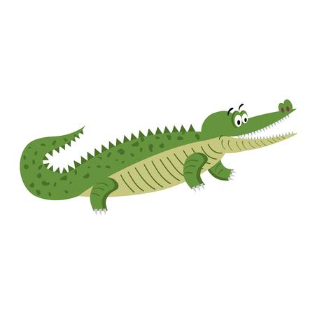 Green Cartoon Crocodile in Natural Pose Isolated Ilustração