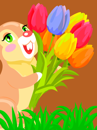 Cute bunny holding bouquet of tulip cartoon vector