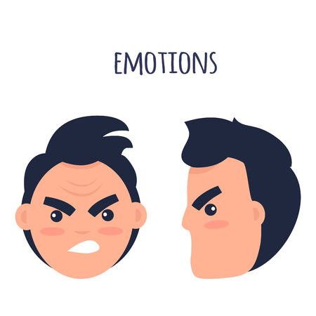 Emotions. Angry Man Faces Isolated Illustration Illustration