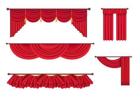 幅の赤いカーテンと Lambrequins ベクトルを設定  イラスト・ベクター素材
