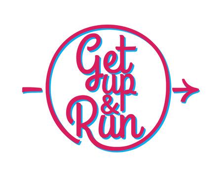 Get Up and Run. Set of Running Marathon Badge. 向量圖像