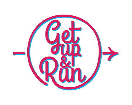 Get Up and Run. Set of Running Marathon Badge. Illustration