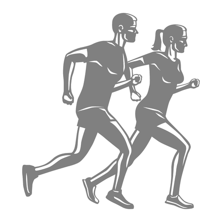 Silhouettes of Running Man and Woman on White