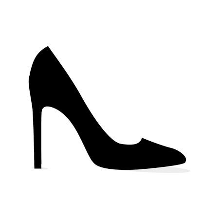 Black Modern Stilleto Shoe Isolated Silhouette Illustration