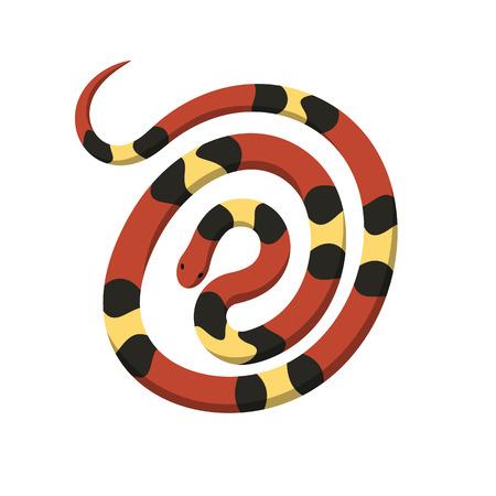 Rolde in spiraal cirkel koraal slang vector pictogram Stock Illustratie