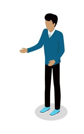 Man in casual clothes vector isometric icon
