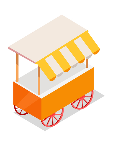 Street Cart Store on Wheels Isometric Vector Icon