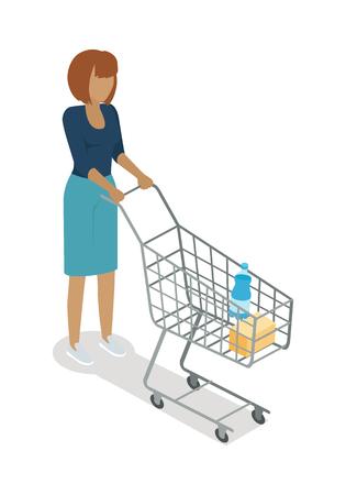 mujer en el supermercado: Woman with Basket Buying Daily Products Vector