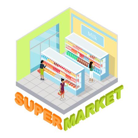 Supermarket Milk Department Isometric Vector