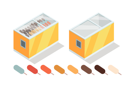 Ice-cream in Groceries Freezer Isometric Vector