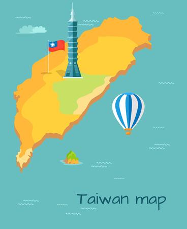 台湾地図高台北、島、バルーンの旗