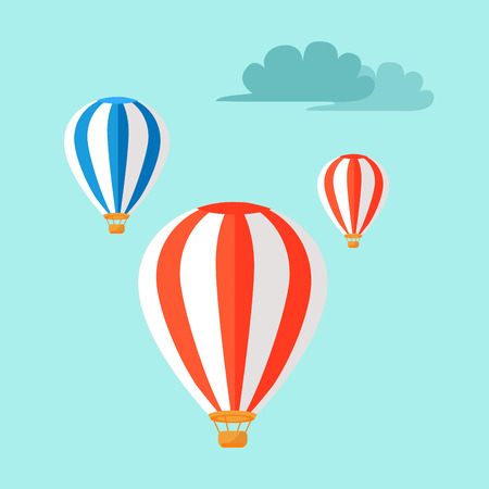 jorney: Airballoons Flying in Blue Sky Vector Illustration Illustration