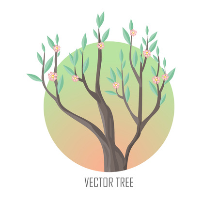 Tree with Green Leaves and Pink Flowers Illustration