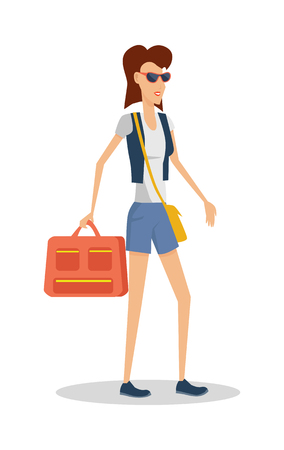 Summer Vacation Concept Girl Travels with Luggage.