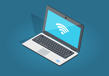 Open Laptop Wi-fi Connection Flat and Shadow Theme Stock Vector - 85364570