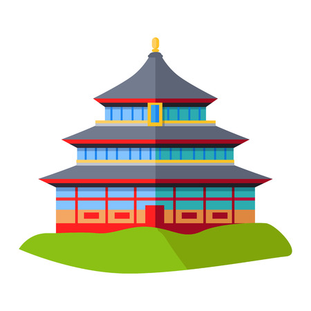 Oriental Building Isolated on Green Grass on White Illustration
