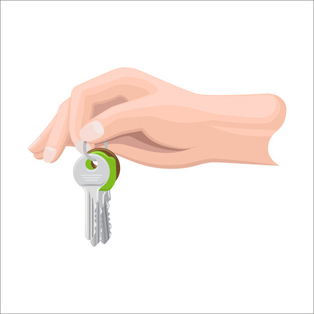 Human arm holds bunch of three keys by key ring on white background. Cartoon arm gives keys from dwelling or some premises to someone.