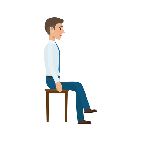 Man sitting on the chair in suit side view. Man at endless work seven days a week. Working moments at the office. Vector illustration of sitting person on chair isolated on white background 向量圖像