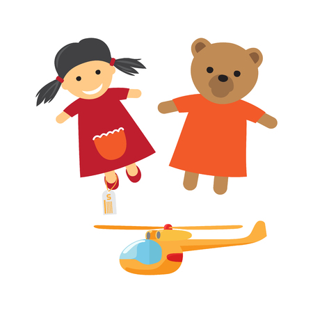 Kids toys for boys and girls. Cute pig-tailed girl, teddy bear in dress dolls and helicopter flat vectors isolated on white background. Vintage toys cartoon illustrations for childhood concepts Illustration
