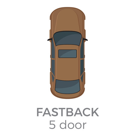Five doors fastback top view icon. Modern passenger car roof view with text flat vector isolated on white. Personal passenger vehicle illustration for urban transport concepts and infographics Illustration
