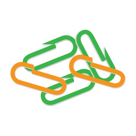 흩어져있는 작은 종이 패스너. 다채로운 클립 평면 벡터 흰색 배경에 고립. Office 구성 및 시간 관리 개념 디자인 문서 공급 그림