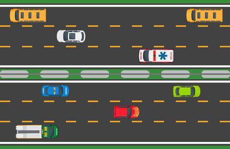 Actief stadsverkeer concept. Personenauto's, vrachtwagen, bussen gaat op veel lijnen weg bovenaanzicht platte vector. Stedelijke snelheid snelweg illustratie voor transportconcepten en logistiek infographics ontwerp