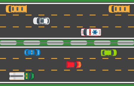 Active city traffic concept. Passenger cars, truck, buses goes on many lines road top view flat vector. Urban speed highway illustration for transport concepts and logistics infographics design