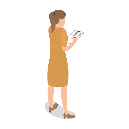 Businesswoman Standing Back and Writing on Tablet