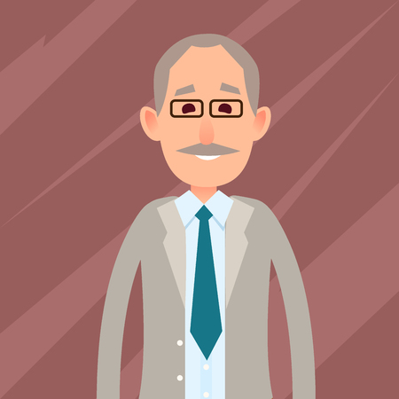 Old Male Character with Mustache Illustration Illustration