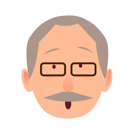 Surprised face of gray-haired old man close-up portrait on white background. Elderly human in black-rimmed glasses opened mouth in surprise. Vector illustration in cartoon style flat design for web.