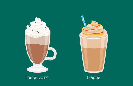 Frappuccino and Frappe in glass cups on green background. Vector illustration of tasty cold drinks with coffee and ice, foam cream and blue straw. Refreshing beverages containing coffee and ice