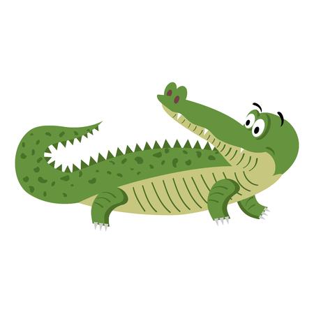 Cute Cartoon Crocodile in Natural Pose Isolated Ilustração