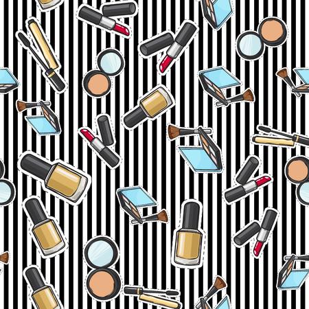 Seamless Pattern of Nail Polish, Powder and Lipstick.