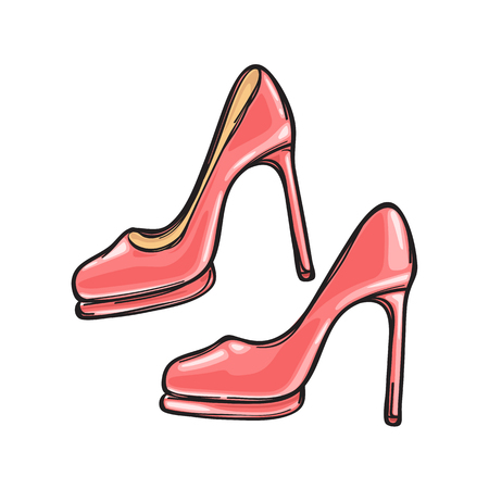 Fashionable Pink Stilletos Isolated Illustration