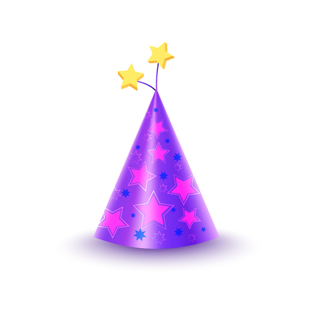dressing up party: Paper Festive Cap With Stars Isolated Illustration Illustration